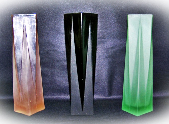 Three Small Square Modernistic Vases